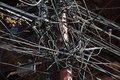 Chaos and tangle of cables Royalty Free Stock Photo