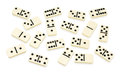 Chaotic arranged dominoes on white Royalty Free Stock Photography