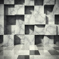 Chaotic concrete cubes blocks wall. Empty dark room interior. Ar Royalty Free Stock Photo
