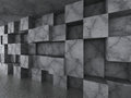 Chaotic concrete cubes wall architecture background Royalty Free Stock Photo