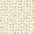 Chaotic golden ancient symbols charms magic signs seamless pattern background