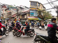 Chaotic street traffic in the Old Quarter of Hanoi Royalty Free Stock Photo