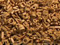Chaotic wooden letters background Royalty Free Stock Photos