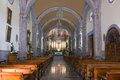 Chapala church altar and nave interior in mexico with columns arches forming illuminated Stock Photo