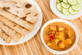 Chapati with indian paneer butter masala folded homemade wheat bread served delicious and cucumber salad it is prepared Stock Photo