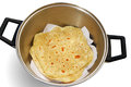 Chapatti hot in cooking pan Stock Photos