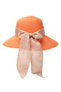 Chapeau orange de dames Image libre de droits