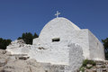 The chapel agios panteleimonas monolithos in on island of rhodes Royalty Free Stock Photography
