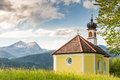 Chapel in the alps of bavria kapelle maria rast near village krün bavaria Royalty Free Stock Photography