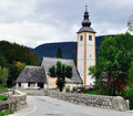 Chapel at bohinj lake slovenia Royalty Free Stock Photography