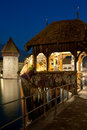 Chapel Bridge in Luzern at night Stock Image
