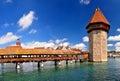 Chapel Bridge tower in Lucerne, Luzern Switzerland