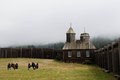 Chapel at fort ross in sonoma county state park a former russian american trading post on a foggy morning california Stock Photography