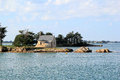 Chapel in the gulf of morbihan island boëdic brittany Royalty Free Stock Image