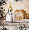 Chapel in honour of sacred Nikolay, Novosibirsk Royalty Free Stock Photo
