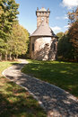 Chapel on krizova hora hill in luzicke hory mountains with foot path above jiretin pod jedlovou Stock Photography