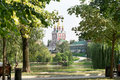 Chapel of the novodevichy convent view closeup Royalty Free Stock Photography