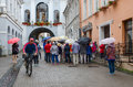 Chapel with our lady of gate of dawn at holy gate gate of dawn vilnius lithuania july tourists are near the the the vilnius Royalty Free Stock Photo