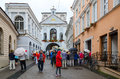 Chapel with our lady of gate of dawn vilnius lithuania july unidentified tourists are near the the at the holy Royalty Free Stock Photography