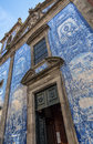Chapel of souls facade the covered by white and blue tiles in porto portugal Royalty Free Stock Photo