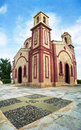 Chapel vertical panorama with sky and tiles Royalty Free Stock Photo