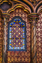 Chapel window beautiful interior of the sainte chapelle holy a royal medieval gothic in paris france on april Stock Image