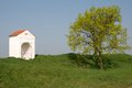 Chapell czech republic small chapel and tree in northern bohemia Royalty Free Stock Images