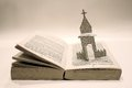 Chapell project carving book with chapel in winter Royalty Free Stock Images