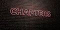 CHAPTERS -Realistic Neon Sign on Brick Wall background - 3D rendered royalty free stock image Royalty Free Stock Photo