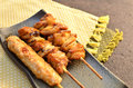 Char-broiled chicken called yakitori. Stock Images