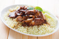 Char siu rice chinese sticky pork spare ribs roasted with a sweet and savory sauce served with boiled barbecued pork Royalty Free Stock Photo