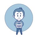 Character accountant with calculator Royalty Free Stock Photography