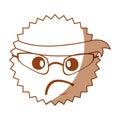 Character angry with bandana kawaii style
