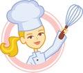 Bakery Culinary Girl Chef Cartoon in Logo Style