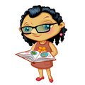 Character fashionable small girl with book on a white background Royalty Free Stock Image