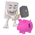 Character with hammer and money box Royalty Free Stock Photo