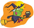 Character harrison rode a broomstick with a cat Royalty Free Stock Photography