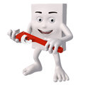 Character holding adjustable spanner Royalty Free Stock Image