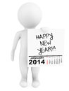 Character holding calendar january with happy new year sign on a white background Stock Images