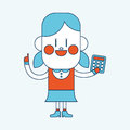 Character illustration design. Girl using calculator cartoon,eps