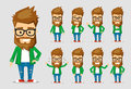 Character men hipster. A collection of several movements and emotions. Royalty Free Stock Photo