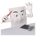 Character with pencil and calculator Royalty Free Stock Image
