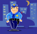 Character police in night city Royalty Free Stock Photos