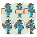 Character Set Rhino Football Player Holds Megaphone Ball Paper Royalty Free Stock Photo