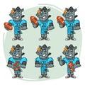 Character Set Rhino Football Player Holds Rectangular Ball Royalty Free Stock Photo