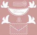Character set wedding with doves Royalty Free Stock Photo
