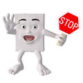 Character with stop sign Stock Photography