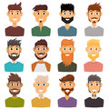 Character of various expressions bearded man face avatar and fashion hipster hairstyle head person with mustache vector