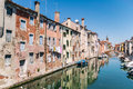 Characteristic canal in chioggia lagoon of venice italy Stock Images