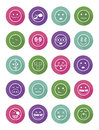 20 characters differents in color circles icons set